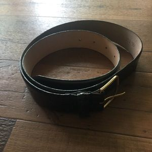 J. Crew Patent Leather Belt Gold Buckle